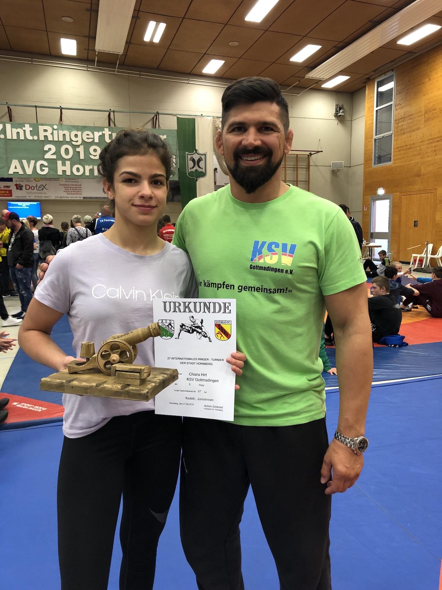 Chiara Hirt mit Trainer Volker Hirt - KSV Gottmadingen in Hornberg 2019